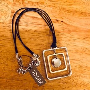 NWT Chico's Necklace Silver Squars